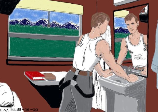 Man i tågkupé utan UW (1)